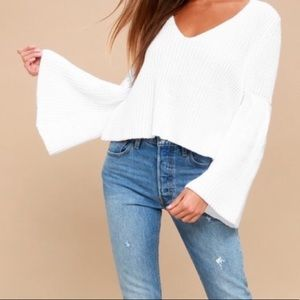 Free People Damsel Bell Sleeve Chunky Sweater